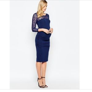 Isabella Oliver navy lace maternity dress